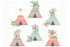 Floral Teepee ClipArt. Printables. $7.00