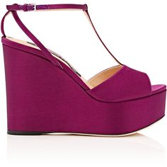 Sergio Rossi Women's Satin Platform-Wedge Sandals ($595) ❤ liked on Polyvore featuring shoes, sandals, purple, buckle sandals, purple wedge sandals, t strap wedge sandals, open toe sandals and high heel wedge sandals