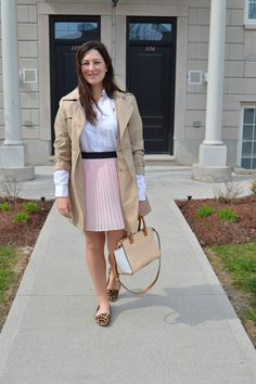 Celebrating this Life: Pretty in Pink. Pink skirt, trench coat, leopard flats, spring outfit, spring style