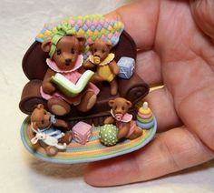 I have always loved tiny things and polymer clay has made it possible to combine two of my passions. Bears, bear friends, toys and anything small. The clay. Polymer Clay Projects, Clay Crafts, Teddy Bear Shop, Baby Room, Bunnies, Bears, Artisan, Miniatures, Nursery