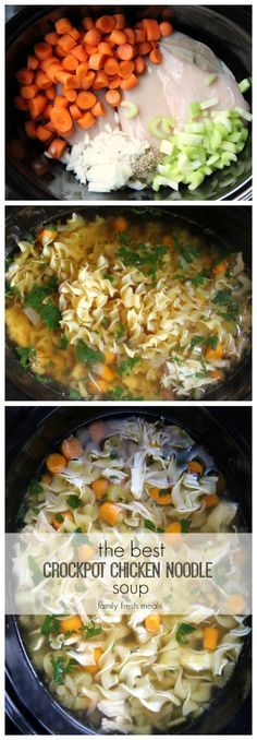 The best CROCKPOT chicken noodle soup! - http://FamilyFreshMeals.com