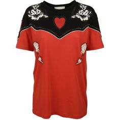Gucci Flower and Heart T Shirt ($490) ❤ liked on Polyvore featuring tops, t-shirts, embellished tops, heart t shirt, round neck t shirt, embellished t shirts and flower print tops