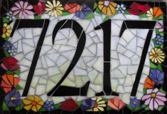 Custom Glass Mosaic Home Address Sign by JoanneDaschel on Etsy