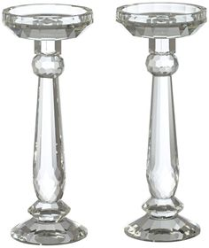 Set of 2 Facets Crystal Candle Holders   55DowningStreet.com