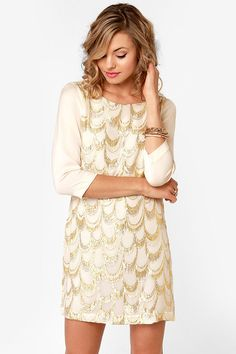 Gold Standard Metallic Cream Embroidered Dress at LuLus.com!  Too much for our engagement photos?! I love this dress!