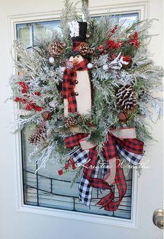 Christmas Bows, Christmas Snowman, Christmas Holidays, Wreath Hanger, Door Wreath, Snowman Wreath, Snowman Decorations, Handmade Wire, Tree Toppers