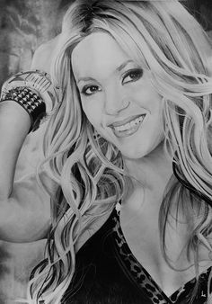 Shakira by Portrait Lc https://www.facebook.com/PortraitLc  #art #drawing #Graphit #portrait #black #white