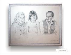 Portret de grup trei personaje portret în creion  pe carton desen realist schiță studiu hiperrealist lucrare originală de artă desenată de pictorul profesionist Călin Bogătean membru al Uniunii Artiștilor Plastici Profesioniști din România. Desen în creion Portret de grup cu trei personaje Female, Character