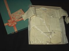 The Gatherings Antique Vintage - Vintage Boxed Baby Sweater Bootie Set Original Box 1940 1950, $22.50 (http://store.the-gatherings-antique-vintage.net/vintage-boxed-baby-sweater-bootie-set-original-box-1940-1950/)