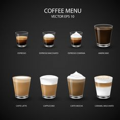 Hot Coffee Menu In Glass Cup From Espresso Machine For Coffee Shop, Coffee Shop Menu, Coffee Type, Coffee And Books, Coffee Art, Hot Coffee, Coffee Drinks, Cafeteria Menu, Café Espresso, Machine Expresso