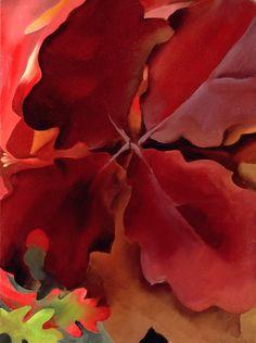 Georgia O'Keeffe. Four Dark Red Oak Leaves