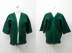 1980s Warm Green Vintage Poncho with 3/4 Sleeves / by CoverVintage, $29.00