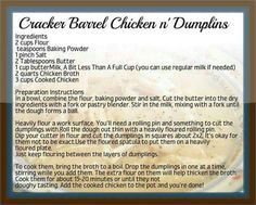 Cracker Barrel Chicken and Dumplings ~ Man these are good! Threw in two chicken bouillon cubes. Baking Powder) More Cracker Barrel Chicken and Dumplings ~ Man these are good! Threw in two chicken bouillon cubes. Cracker Barrel Chicken, Cracker Barrel Recipes, Cracker Barrel Dumplings Recipe, Cracker Barrel Meatloaf, Old Recipes, Vintage Recipes, Cooking Recipes, Dinner Recipes, Restaurant