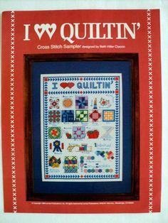 Vintage  I Love Quiltin' Cross Stitch by DocksideDesignsEtc, $6.00
