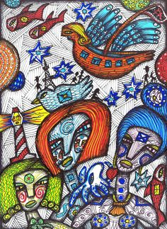 The Flying Ship outsider visionary art by Julia by JuliaSisiArt, $85.00