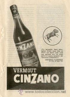 Página Publicidad Original *Vermout CINZANO. Cita Ortega y Gasset* - Año 1957