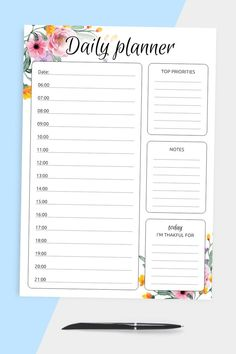 Daily Planner Journal help you to be more efficient and keep track of everything in one place. Enjoy the simplicity and achieve more with the planners every single day. You can choose paper size: A4, A5, Letter or Half Letter. #planner #daily #templates #journal #scheduler Hourly Planner, Home Planner, Daily Planner Printable, Planner Journal, List Template, Planner Template, Templates, Pre Wedding Party, Student Planner