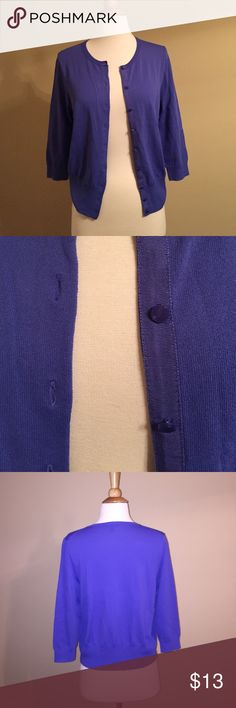 Ann Taylor Loft Cardigan Blue/purple button up cardigan. Super comfy and cute. Very simple. 3 quarter sleeves. In AMAZING condition being worn for a couple hours. A must have! Ann Taylor Sweaters Cardigans