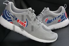 Chicago Cubs 16' Nike Roshe One Run Wolf Grey Custom by NYCustoms