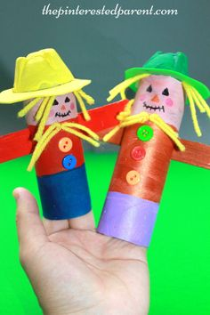 Toilet Paper / paper towel roll scarecrows - the tubes make great finger puppets…