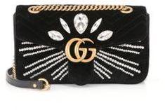 Gucci Marmont Crystal-Embellished Velvet Clutch #fashion #pandafashion #clutch #gucci