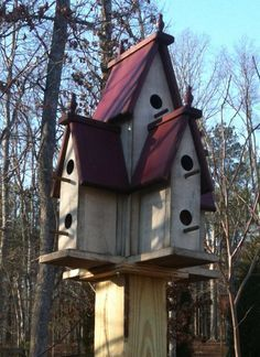 This is the PATTERN for you to build this large birdhouse. Is about 25 tall, 19 wide on two sides. There are 9 nesting rooms.