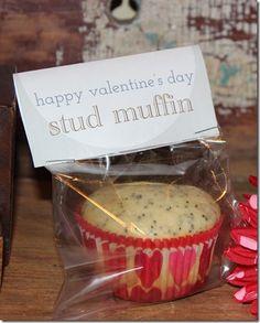 Happy Valentine's Day, Stud Muffin—cute DIY gift.