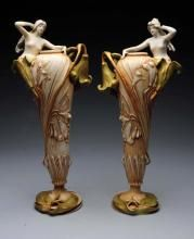 A Tall Opposing Pair of Amphora Art Nouveau Vases.,  Ceramic Vases, Ladies Emerging from Flowers, 18 inches high, circa 1898. Amphora Oval Mark, Imperial Amphora Turn Mark