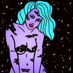 Robin Eisenberg, desde Los Angeles, California, se dedica a ilustrar con mucho fluorescente y neón a varias mujeres del espacio, a algunos personajes de la cultura pop norteamericana y bastantes pedazos de pizza. Todo con mucho estilo. Ella misma cuenta que pasa la mayoria de su tiempo dibujando cosas inspiradas en el espacio, la moda, …