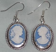 Cameo earrings with surgical hooks