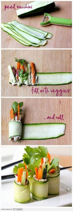 """Since sushi is the go yo food of college and university students. This seems like a good way to get in your veggies. Roll up your salad into raw zucchini """"sushi"""" rolls. Fresh and delicious! Snacks Für Party, Appetizers For Party, Appetizer Recipes, Appetizer Ideas, Sushi Party, Party Fingerfood, Sleepover Snacks, Picnic Snacks, Picnic Dinner"""