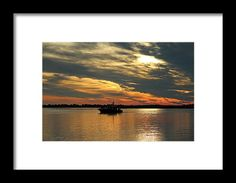 Boat Framed Print featuring the photograph Sunset Over The Water by Cynthia Guinn