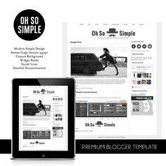 Premade Blogger Template  Simple Blog Template by NudgeMediaDesign, $35.00