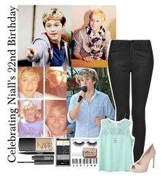 """HAPPY 22ND BIRTHDAY NIALL"" by monafce ❤ liked on Polyvore featuring NARS Cosmetics, Stila, Essie, Topshop, Fendi, Finn and 5ThingsWeLoveAboutNiall"