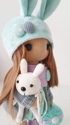 Bunny Textile DOLL WITH CLOTHING, Interior Decor Doll, Tilda Rag Doll, Special Girl Gift christmas doll toys birthday home decor Handmade Clothes, Handmade Items, Special Girl, Fabric Dolls, Girl Gifts, Doll Toys, Soft Fabrics, Kids Toys, Diy And Crafts