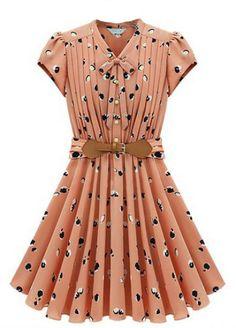 Light Orange Short Sleeve Apple Print Bandeau Pleated Dress