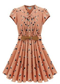 Light Orange Short Sleeve Apple Print Bandeau Pleated Dress