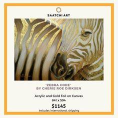 Africa Painting, Zebra Painting, Zebra Art, Gold Stripes, Animal Fashion, Gold Paint, Art Portfolio, All Art, Beautiful Creatures