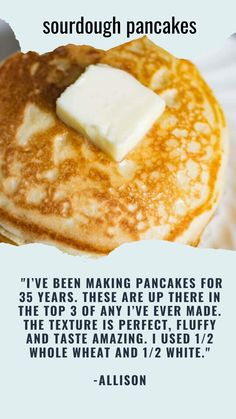 Wondering how to use sourdough discard? Sourdough gives these Sourdough pancakes a delicious flavor and fluffy texture that you'll fall in love with! These will quickly become your family's favorite breakfast. Breakfast Pancakes, Breakfast Dishes, Breakfast Recipes, Sourdough Pancakes, Sourdough Recipes, Natural Yeast Recipe, Sourdough Starter Discard Recipe, Tasty, Yummy Food