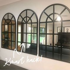 Save thousands of dollars by customising IKEA furniture into hero pieces with our adhesive Styl-Panels, cabinet handles and furniture legs. Perfect for DIY decor projects, furniture up-cycling, renovation projects and more. Arched Window Mirror, Arch Mirror, Mirror Decor Living Room, Entryway Decor, Clever Kitchen Ideas, Kmart Decor, Home Decor Hacks, Green Rooms, Australia Living