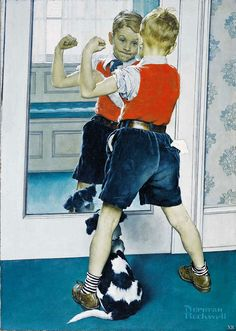 View The Muscleman by Norman Rockwell on artnet. Browse upcoming and past auction lots by Norman Rockwell. Norman Rockwell Prints, Norman Rockwell Paintings, Penguin Books, Pin Up, Peintures Norman Rockwell, Dog Illustration, Arte Pop, Dog Art, Belle Photo