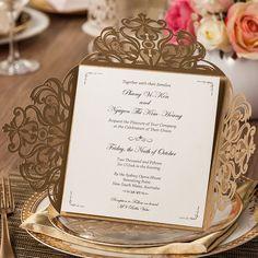 50 Peças, Dourado elegante Teste Padrão de Flores de Corte A Laser Convites De Casamento Cartões, por Wishmade, CW519_GO em   de   no AliExpress.com | Alibaba Group
