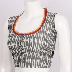 Hand Crafted Ikat Sleeveless Silk Cotton Blouse With Collar Neck 10013904 - size 40 - AVISHYA.COM