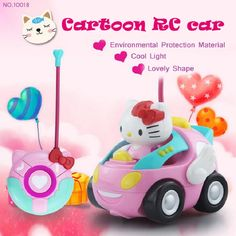 high quality cartoon remote control toy car no10018 hello kitty car childrens educational toys