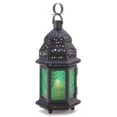 Green Glass Moroccan Lantern Candle Style Holder Metal Hanging Decor Xmas Gift #FurnitureCreations
