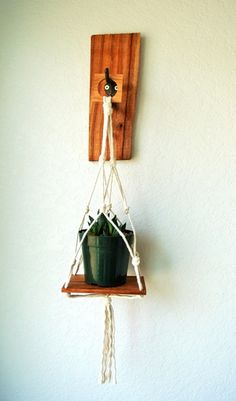 reclaimed cherry and cotton hanging planter.  Refined Reclaimed
