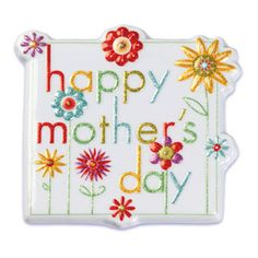 Mothers Day Cake Topper Square with Flowers by Bakery Crafts