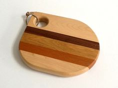 Small Wood Cutting Board, Maple, Dark Walnut, Red Cherry & Light Birch, Cowhide Cord by GentlyKept on Etsy