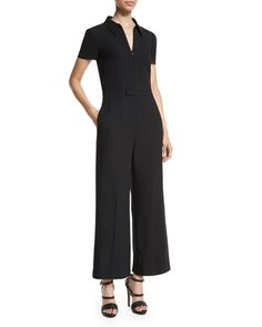 TAAYV RED Valentino Short-Sleeve Zip-Front Cropped Jumpsuit