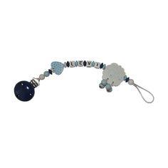 Schnullerkette Schäfchen babyblau/dunkelblau